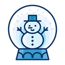 Man, Snow, snowman, snowglobe, decoration, Decorate Black icon