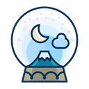 snowglobe, decoration, Decorate, Moon, Cloud, mountain Black icon