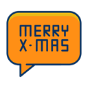Text, Bubble, speech, Message, christmas, merry DarkOrange icon