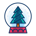 Tree, christmas, snowglobe, decoration, Decorate Black icon