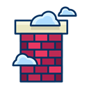 Chimney, house, Cloud, real estate, fireplace Black icon