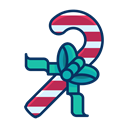 Candy, Ribbon, Cane, Bow, sweets Black icon