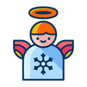 christmas, Angel, winter, decoration, wings, Decorate Black icon