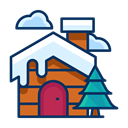 house, Tree, Cloud, Snow, winter, property, Cabin Black icon