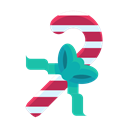 Candy, Cane, Bow, sweets, Ribbon Black icon