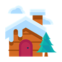 Cloud, winter, Forest, Home, house, Tree, Cabin Black icon