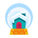snowglobe, decoration, Cabin, Home, house, Decorate Black icon