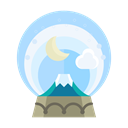 Moon, Cloud, christmas, mountain, snowglobe, decoration, Decorate Black icon
