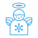 christmas, Angel, winter, decor, decoration, snowflake Black icon