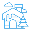 Home, house, Tree, Cloud, winter, Cabin Black icon