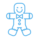 christmas, gingerbread, sweets, Man, cookie Black icon