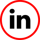 In, linked, Social, media, online Red icon