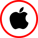 Apple, online, Social, media Red icon