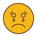 Face, Emoticon, sad, Cry, Emoji Goldenrod icon