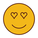 love, Face, smiley, Emoticon, Emoji Goldenrod icon