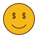 Money, Dollar, Emoji, Face, smiley, Emoticon Goldenrod icon