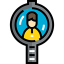 search, magnifying glass, Business, hiring, Loupe, Human resources, Seo And Web Black icon