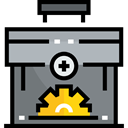 settings, Briefcase, Process, suitcase, cogwheel, Seo And Web Gray icon