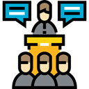Seo And Web, Conference, Lecture, Lectern, people, Presentation, education Black icon
