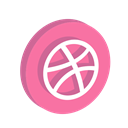 media, Social, dribbble HotPink icon