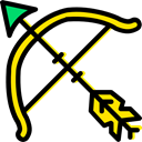 Bow, medieval, bow and arrow, Cultures, Arrow, miscellaneous, weapon, Archery Black icon