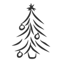 Tree, christmas, fir, spruce Black icon