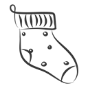 christmas, sock Black icon