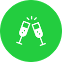 year, champagne, treat, new, party, drink, Cheers LimeGreen icon