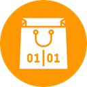 End, shopping, Bag, sale, of, Purchase, new year DarkOrange icon