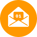Greetings, Wishes, envelope, mail, card, january, new year DarkOrange icon