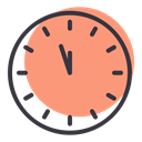 twelve, Clock, new, time, year, Countdown LightSalmon icon
