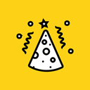 Cap, birthday, party, cone, new year, merry, Celebrate Gold icon