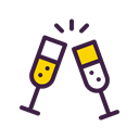 champagne, treat, Cheers, new, party, drink, year Black icon