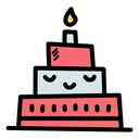 Celebrate, christmas, Celebration, new year, birthday, cake, Candle Black icon