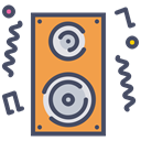music, speaker, Fun, Deejay, party, Loud, noise DarkSlateGray icon