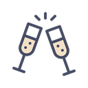 new, champagne, treat, Cheers, party, drink, year Black icon