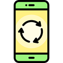 touch screen, mobile phone, cellphone, smartphone, Recycled, technology, recycling, Communications, Ecology And Environment Black icon