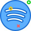 Social, Spotify, Brand, network, Logo CornflowerBlue icon