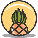 pineapple, summer, vacation, tropical Khaki icon