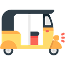 tourism, transportation, Tuk Tuk, Rickshaw, Three Wheeler Black icon