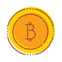 financial, Bitcoin, internet, Money, Bank, technology Orange icon