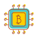 financial, Bitcoin, chipset, internet, Bank, technology Black icon