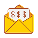 Bank, transfer, technology, Email, internet, financial Gold icon