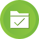 Folder, Check, ok, Accept, Data, storage YellowGreen icon