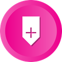 Add, bookmark, save, mark, Badge, Ribbon DeepPink icon