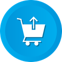 Arrow, Up, upload, Cart, commerce, shopping DeepSkyBlue icon