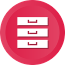 Hosting, Database, Archive, files, storage, Archives, Server Crimson icon