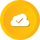 Data, Cloudy, computing, Blue, Check, Cloud Orange icon