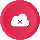 Cloud, Error, Data, storage, remove, warning Crimson icon