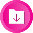 Folder, Down, Arrow, download, inbox, files, Downloading DeepPink icon